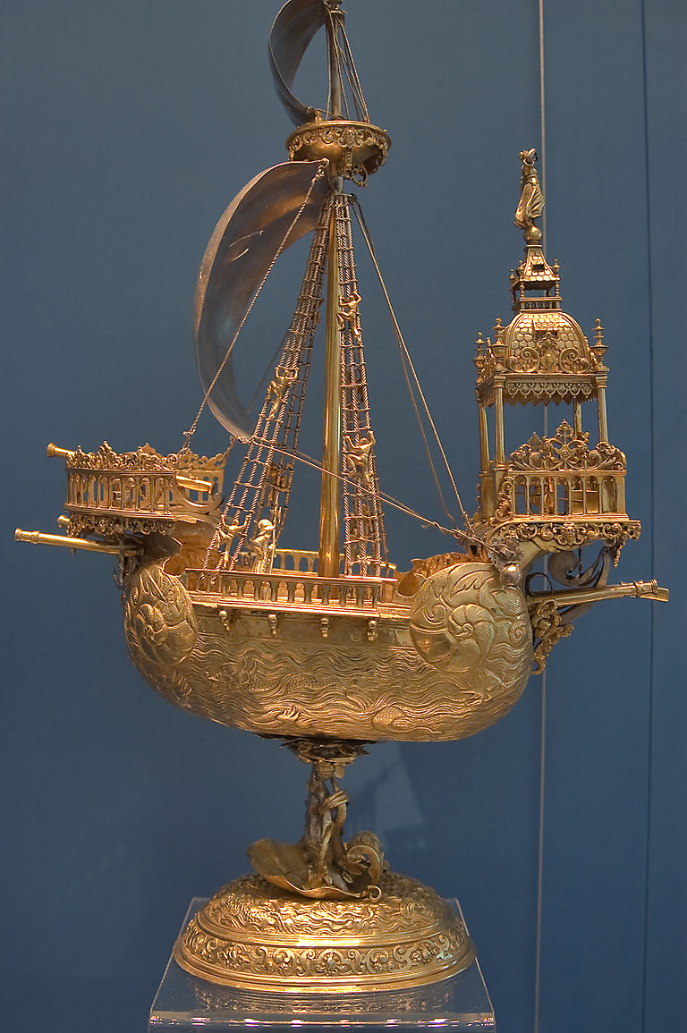 Gilded ship in Hermitage Museum. St.Petersburg, Russia