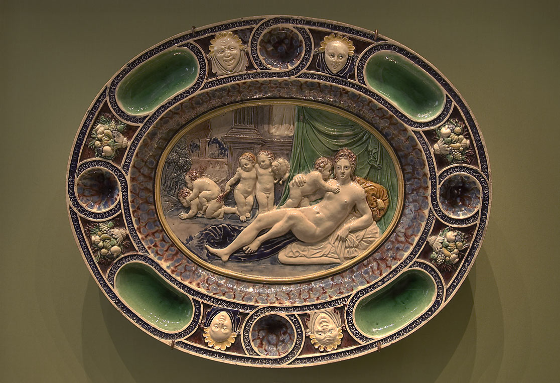 Cupids on a dish in Hermitage Museum. St.Petersburg, Russia