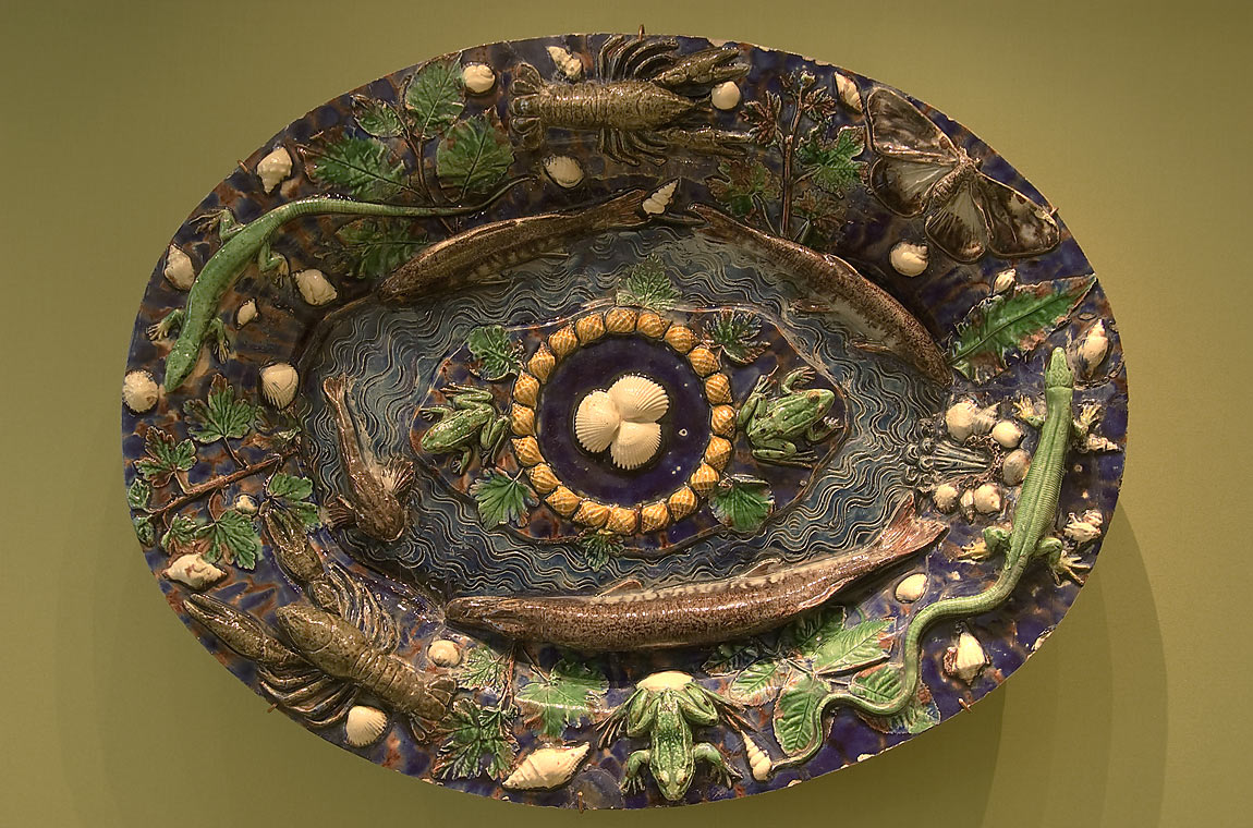 Frogs on a dish by Bernard Palissy in Hermitage Museum. St.Petersburg, Russia