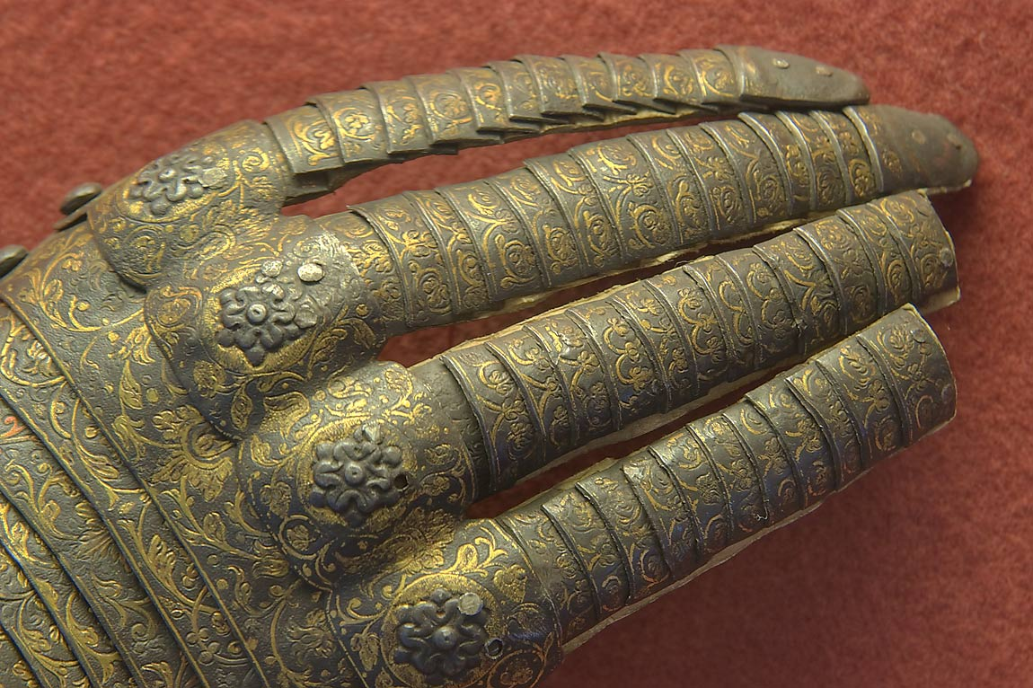 Protective glove in Knight Hall in Hermitage Museum. St.Petersburg, Russia