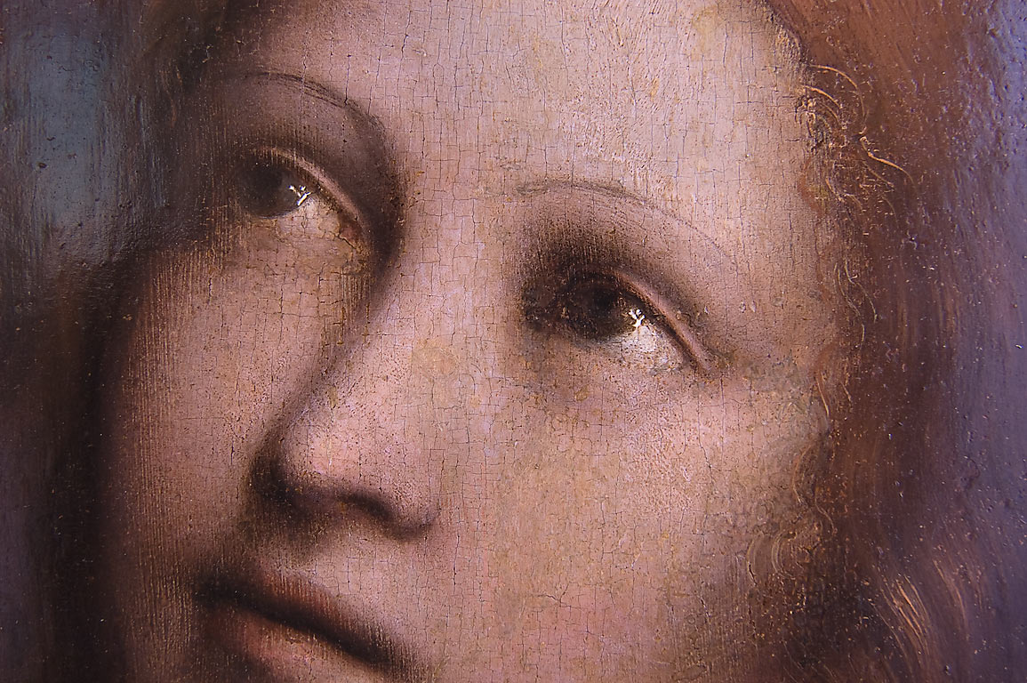 "Woman's head on a painting of Giampietrino ""The...Museum. St.Petersburg, Russia"