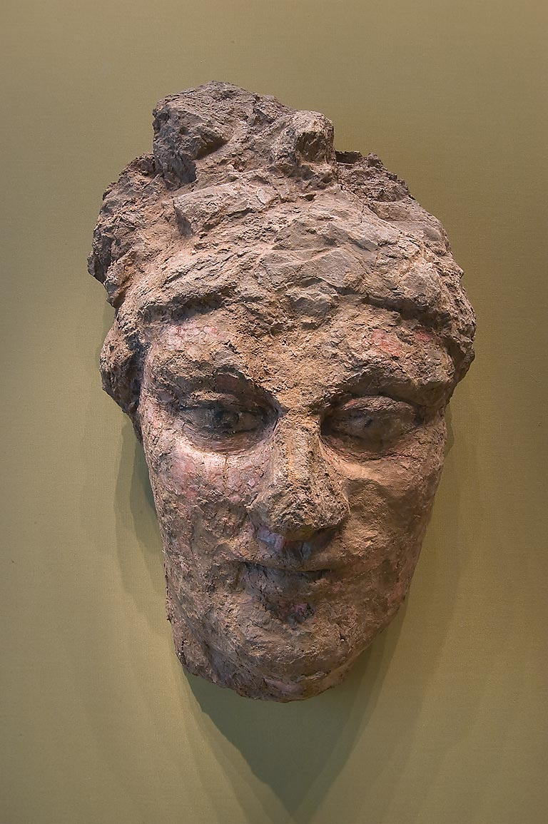 Terracotta head of a woman in Hermitage Museum. St.Petersburg, Russia