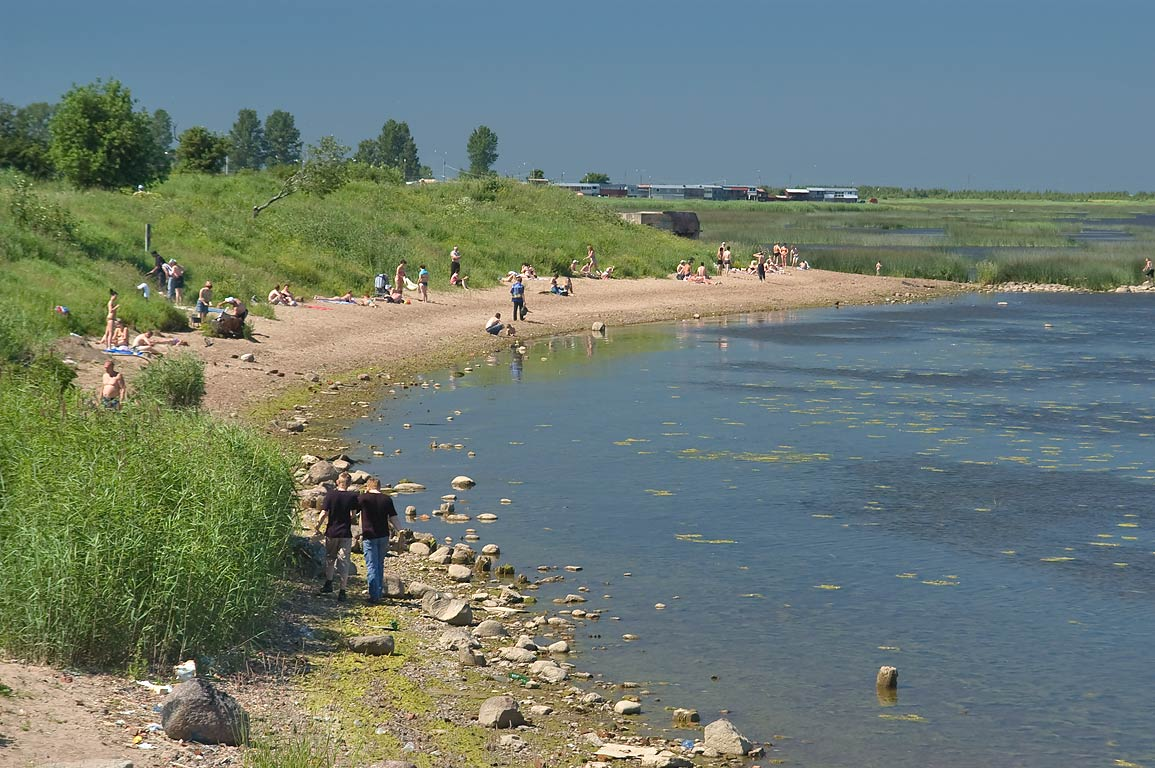 Northern city beach. Kronstadt, a suburb of St.Petersburg, Russia
