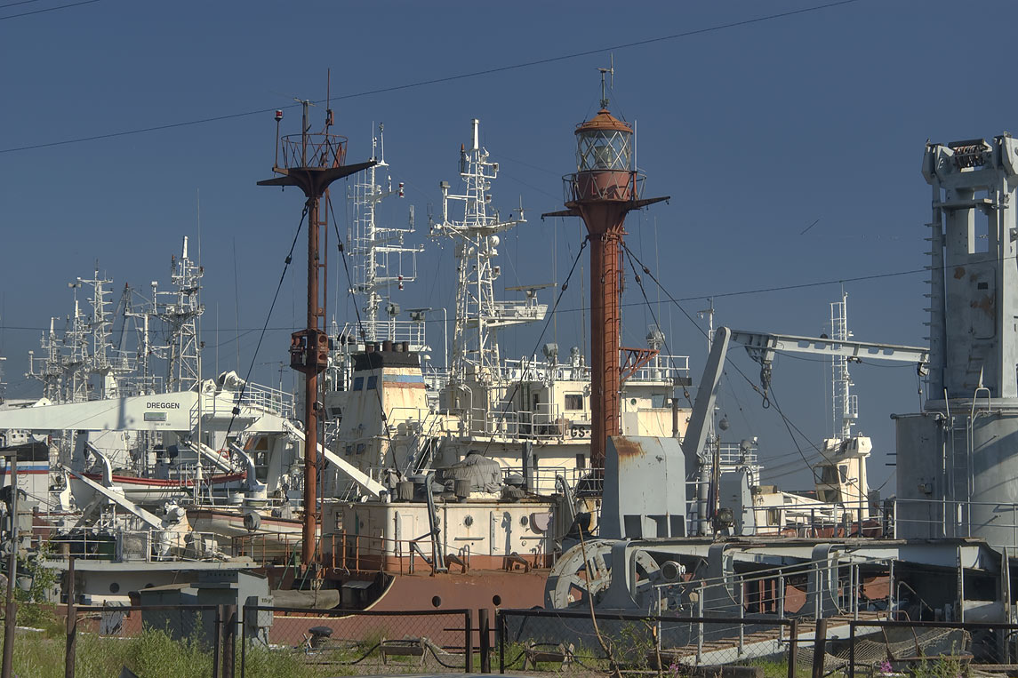 Floating lighthouse and naval ships in Yuzhnaya...a suburb of St.Petersburg, Russia