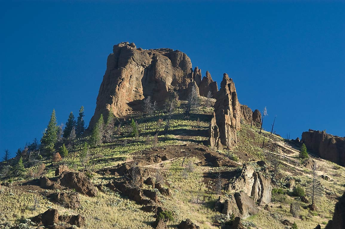 Rock near Yellowstone Park, view from East Entrance Rd.. Wyoming