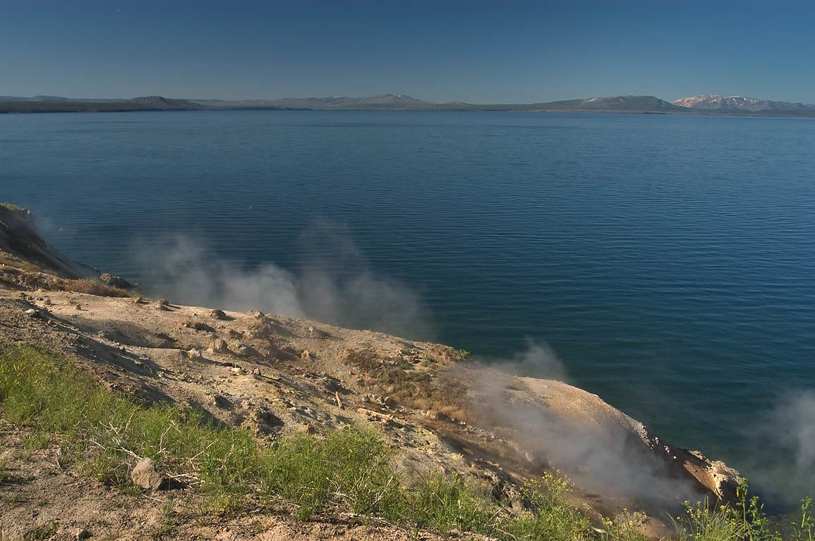Yellowstone Lake and hot springs, view from Steamboat Point. Wyoming