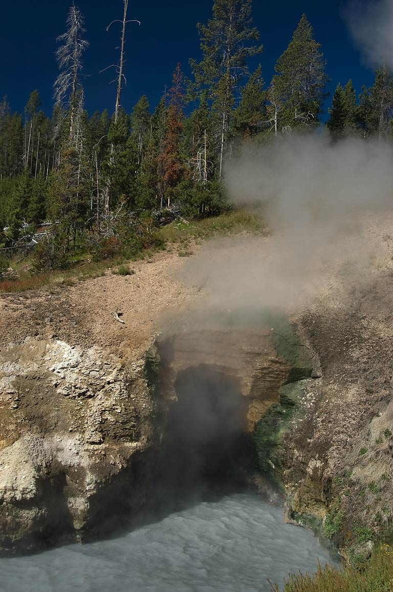 Dragon's Mouth in mud volcano area in Yellowstone Park. Wyoming