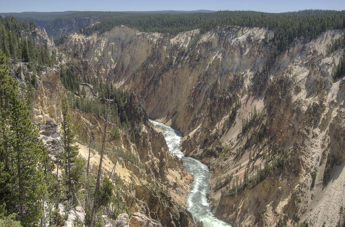 Yellowstone River from Grand View Lookout Point...Village. Yellowstone Park, Wyoming