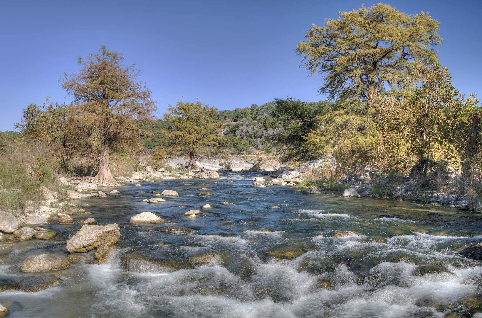 Pedernales river below the falls. Johnson City, Texas