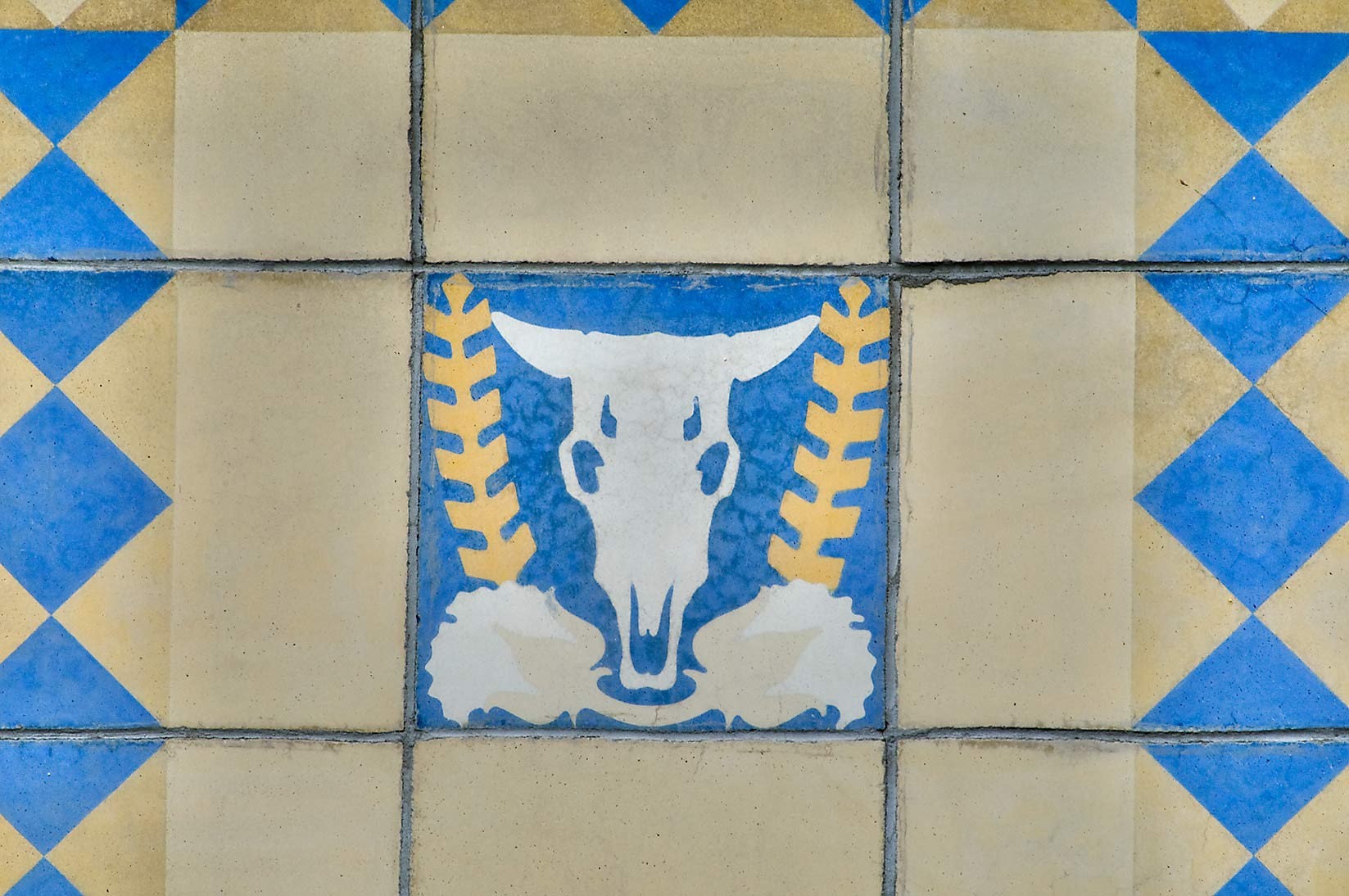Cow skull on ceramic tile of Agricultural...M University. College Station, Texas