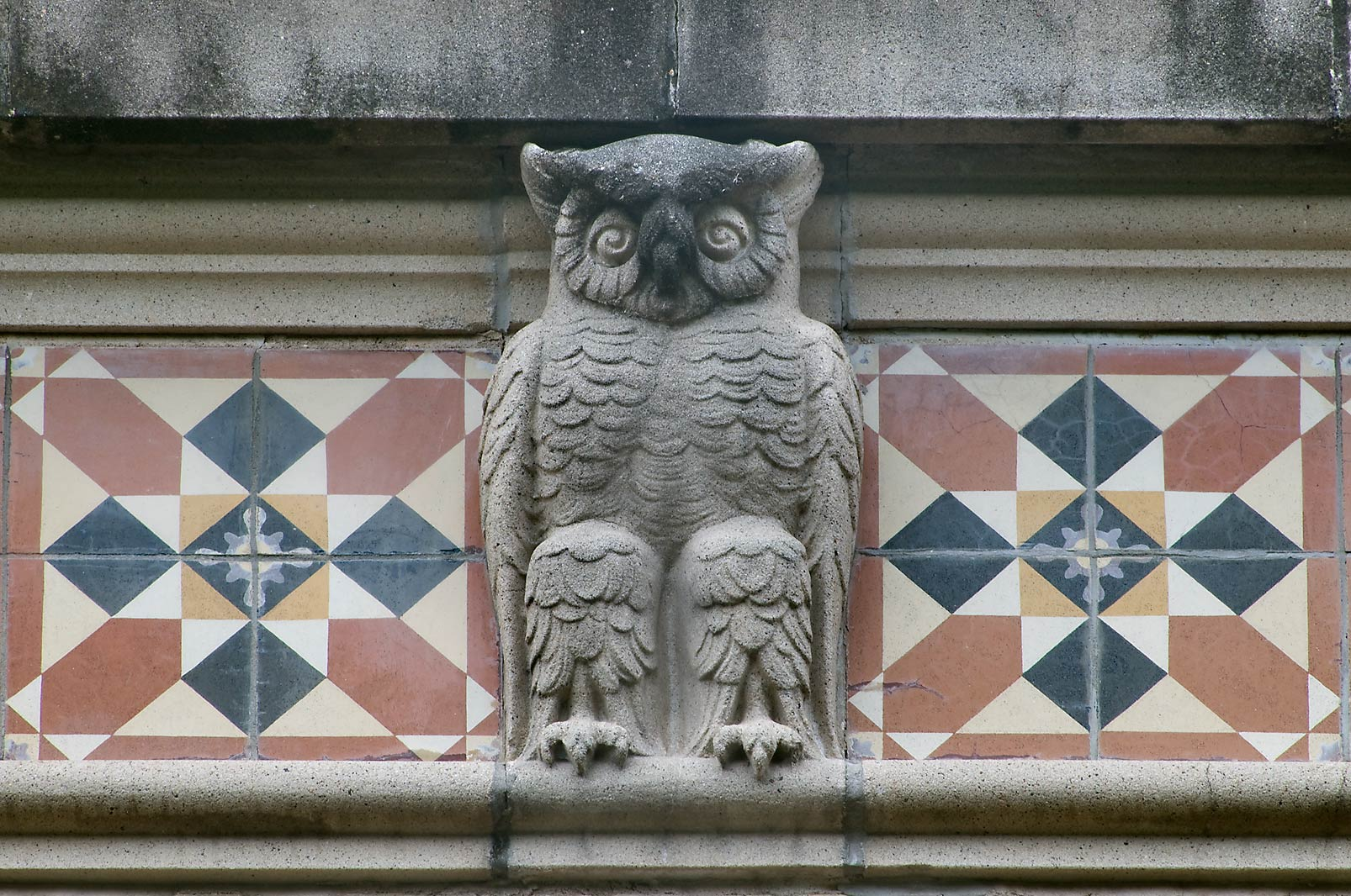 Owl figure at cornice of Agricultural Engineering...M University. College Station, Texas