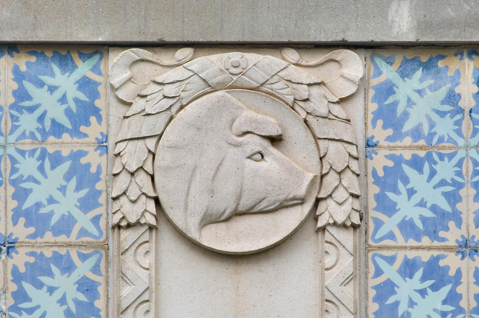 Pig head at cornice of Civil Engineering Building...M University. College Station, Texas