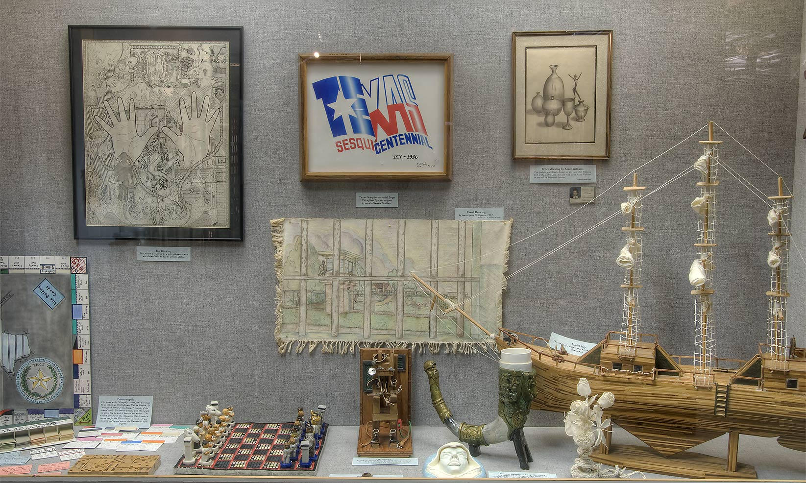 Inmate crafts exhibit in Prison Museum. Huntsville, Texas