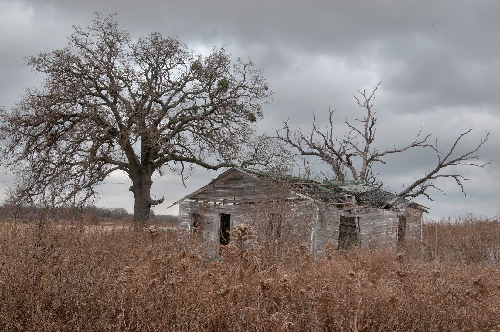 Abandoned farm with an old house at Rd. 2027 near Pleasant Grove, west from Bremond. Texas