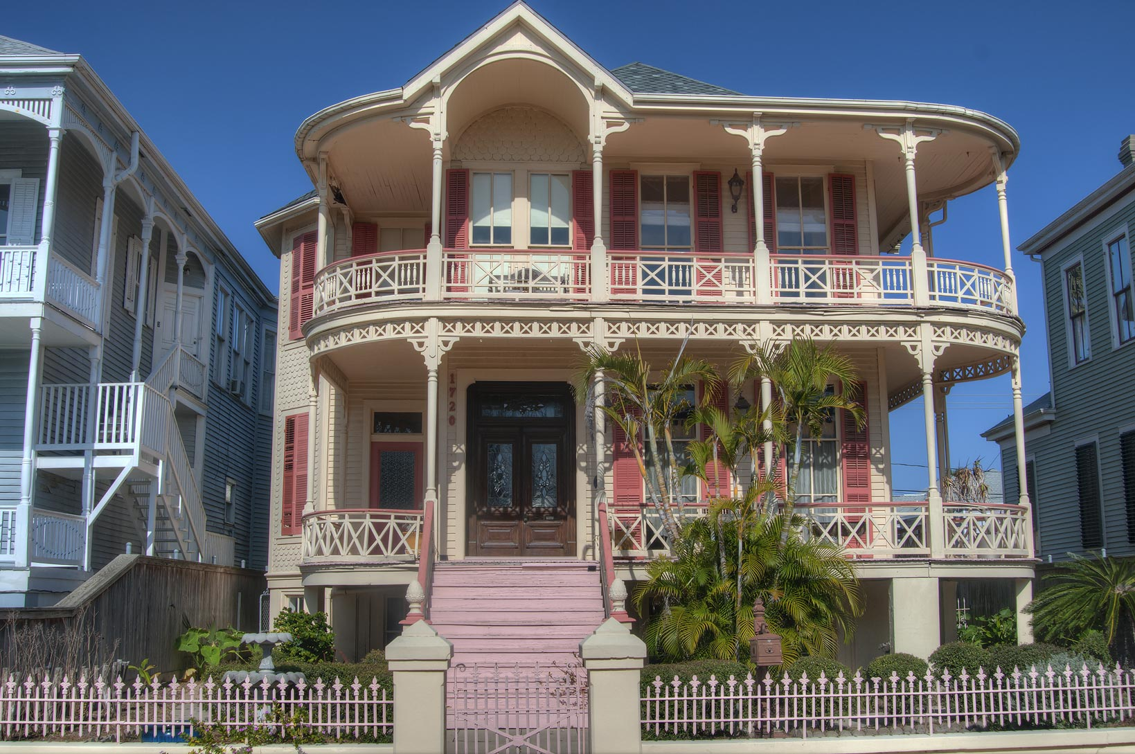 Arthur F. Sampson House (1889) with rounded wrap...Historic District. Galveston, Texas
