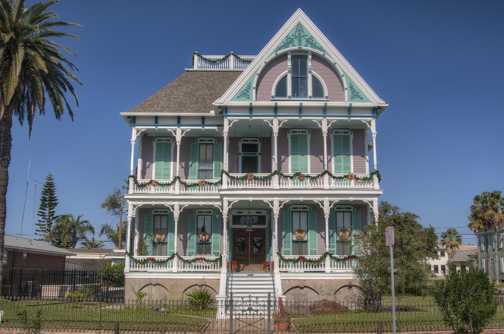 Front view of Gus Reymershoffer House (1887) at...Historic District. Galveston, Texas