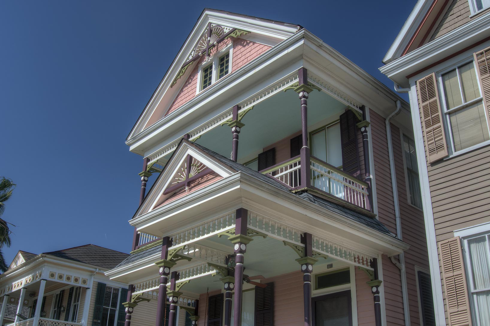 Brown wooden house on Church St. (Avenue F) in...Historic District. Galveston, Texas