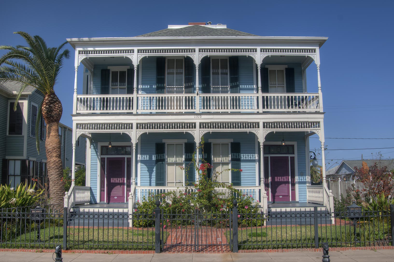Griffin House (c.1886) at 1310-12 Ball St. in East End Historic District. Galveston, Texas