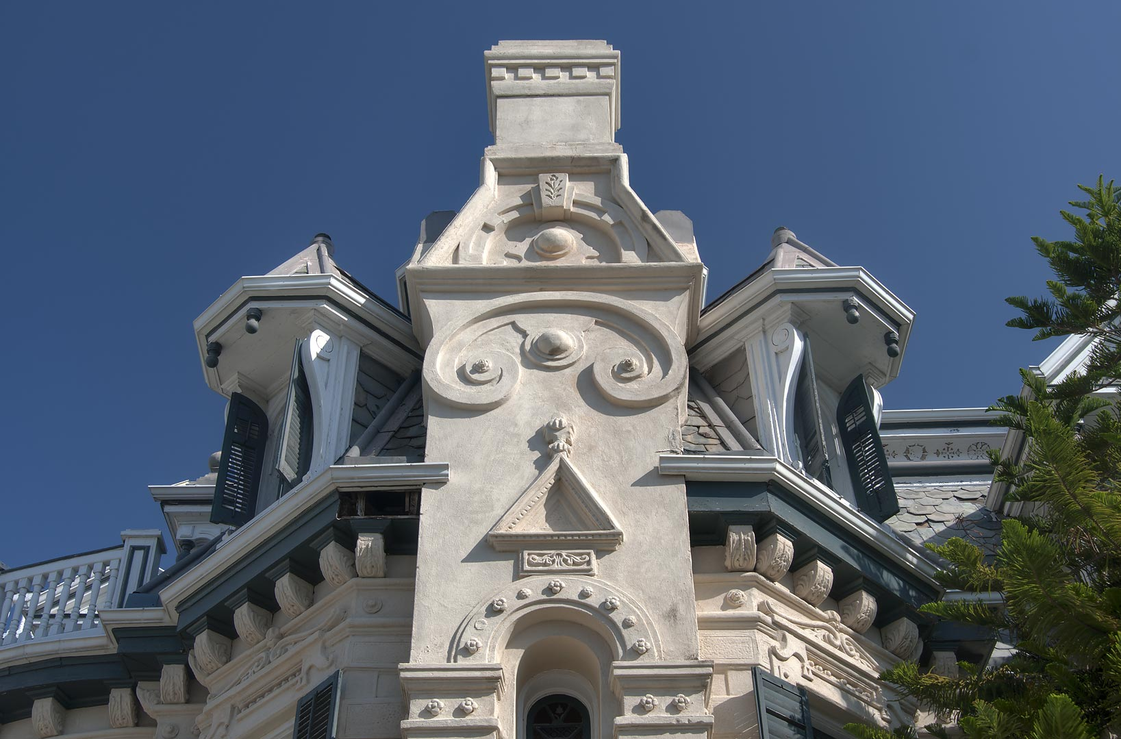 Roof detail of Trube Castle (1890) at 1627 Sealy...Historic District. Galveston, Texas