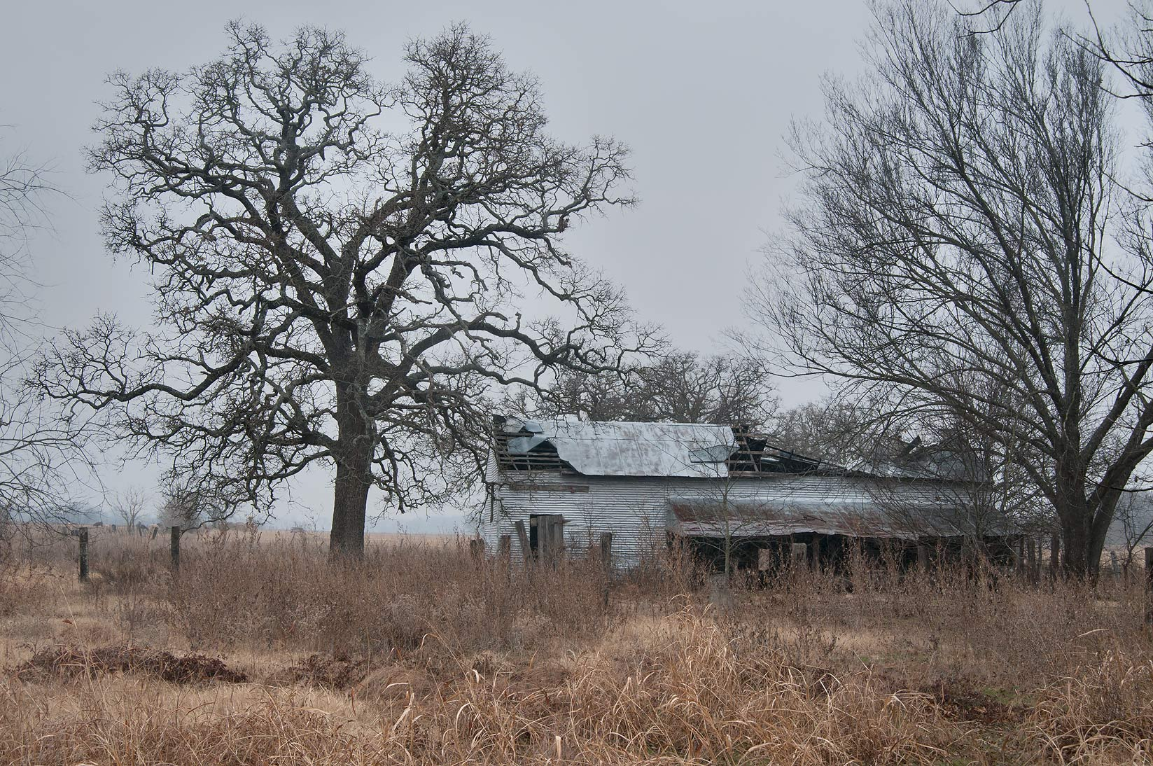 Old farm at Rd. FM 413 at crossing with FM 1373 east from Rosebud. Texas