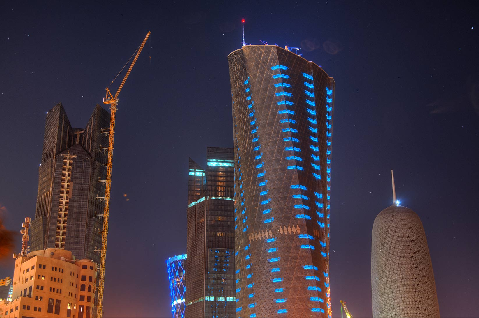 Al Bidda and other West Bay towers, view from Corniche. Doha, Qatar