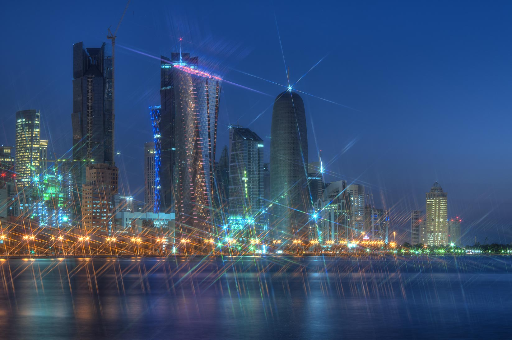West Bay and Corniche from a square at Balhambra restaurant. Doha, Qatar