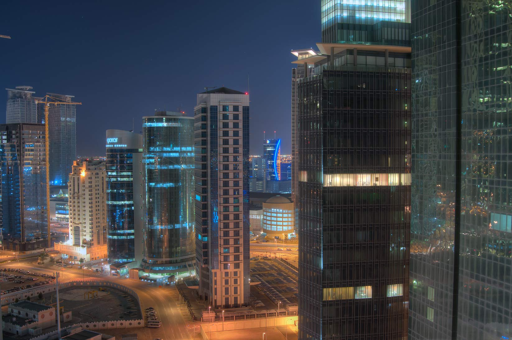 Ambassadors St. in West Bay south from ASAS Tower...a balcony of Room 2303. Doha, Qatar