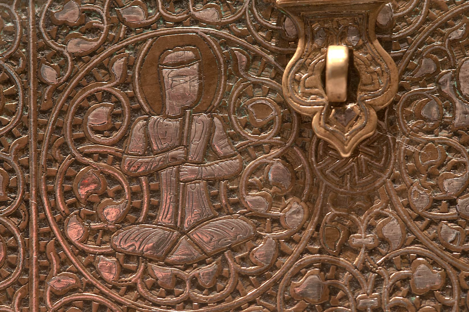 Detail of a casket (Iran, c. 1300, brass with...in Museum of Islamic Art. Doha, Qatar
