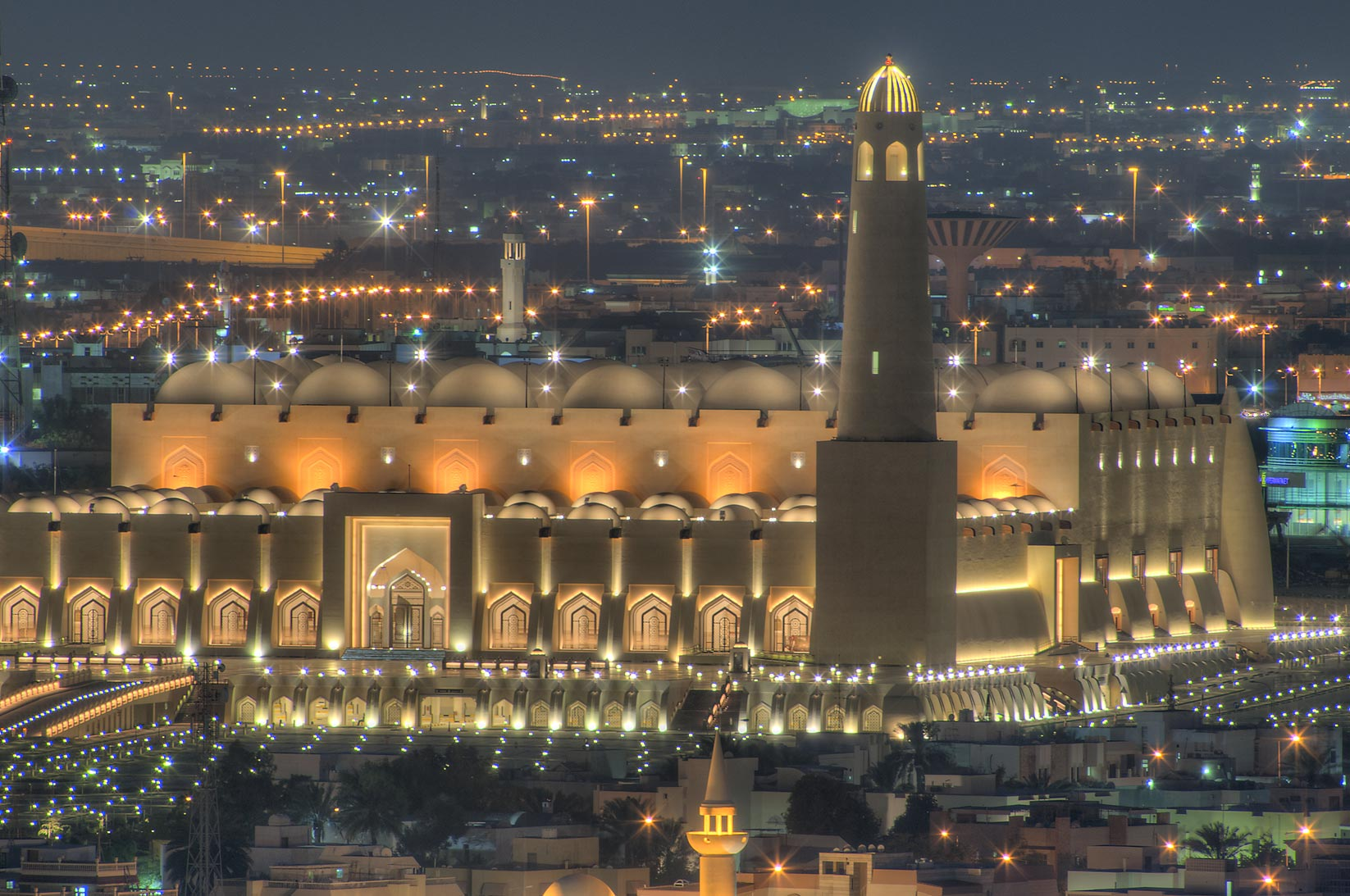 State Mosque at Al-Khuwair, view from a balcony...2303 of ASAS Tower West. Doha, Qatar