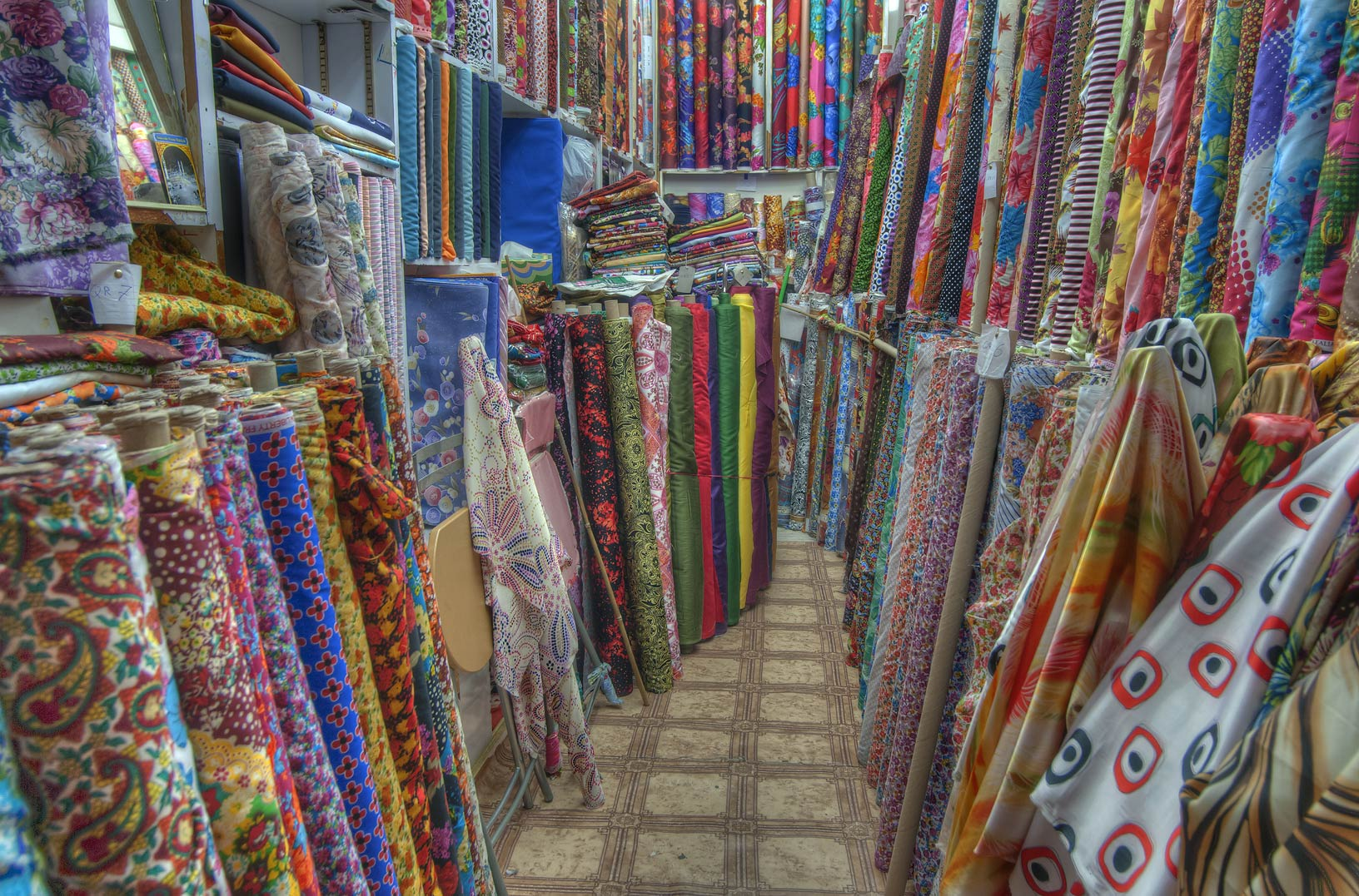 Satin fabric shop in Souq Waqif (Old Market). Doha, Qatar
