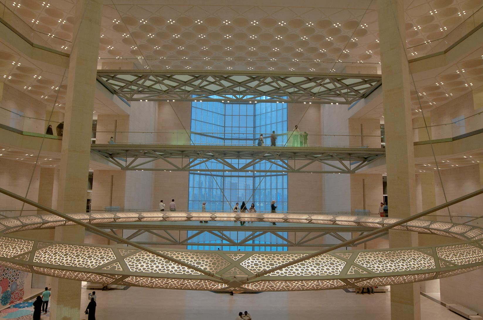 Glass passages and 5-storey window of Museum of Islamic Art. Doha, Qatar