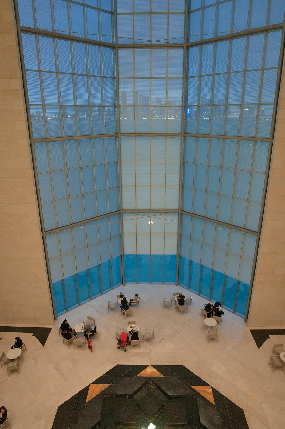 5-storey window and howz (pool) of Museum of Islamic Art. Doha, Qatar
