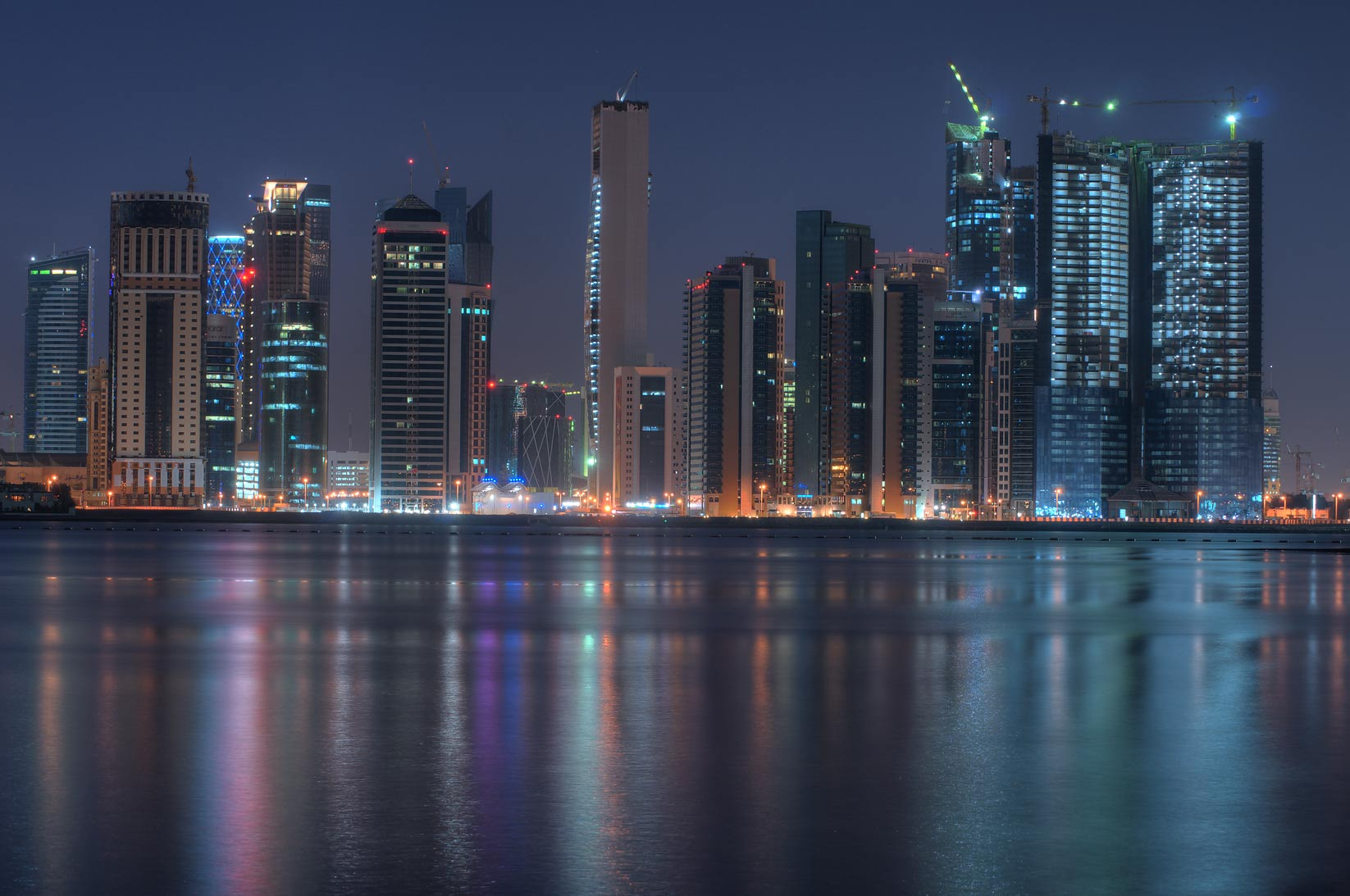 Northern area of West Bay from a beach south of InterContinental Hotel. Doha, Qatar