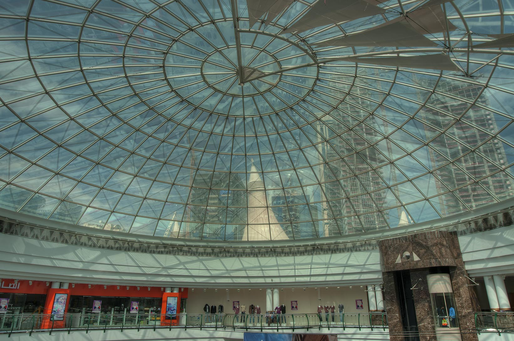 Upper floor and a glass roof of City Center Mall. Doha, Qatar