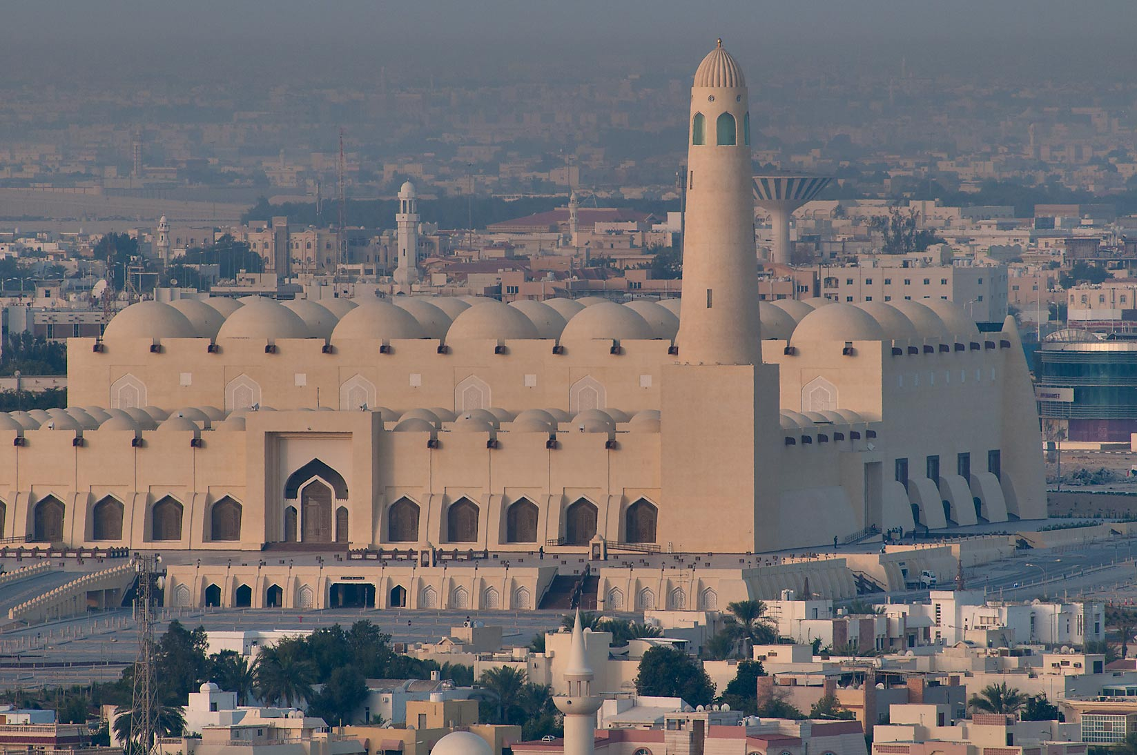 State Mosque at Al-Khuwair at sunrise from ASAS...a balcony of Room 2303. Doha, Qatar
