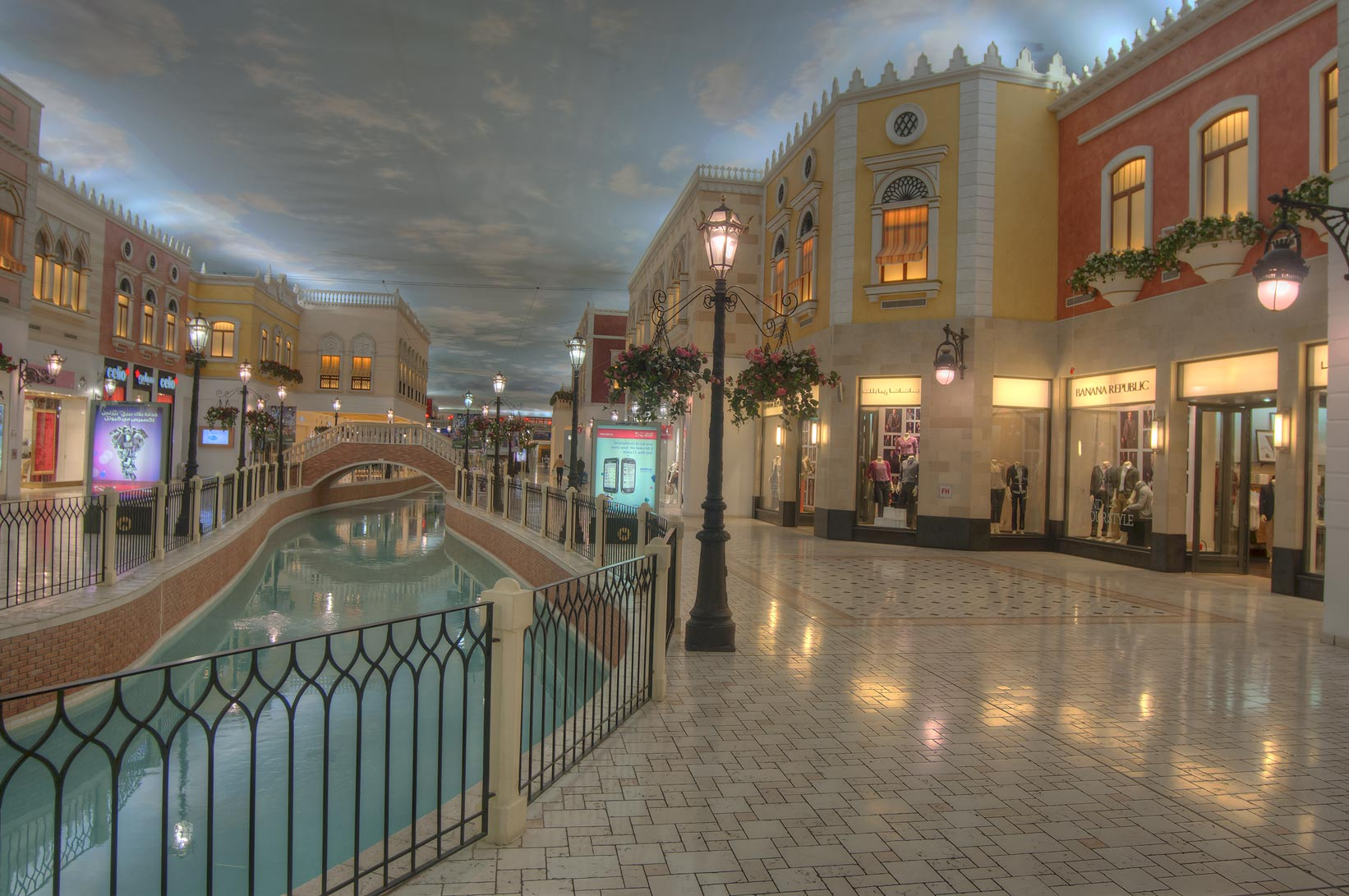 Modern shops in Villagio shopping mall in Aspire Zone. Doha, Qatar