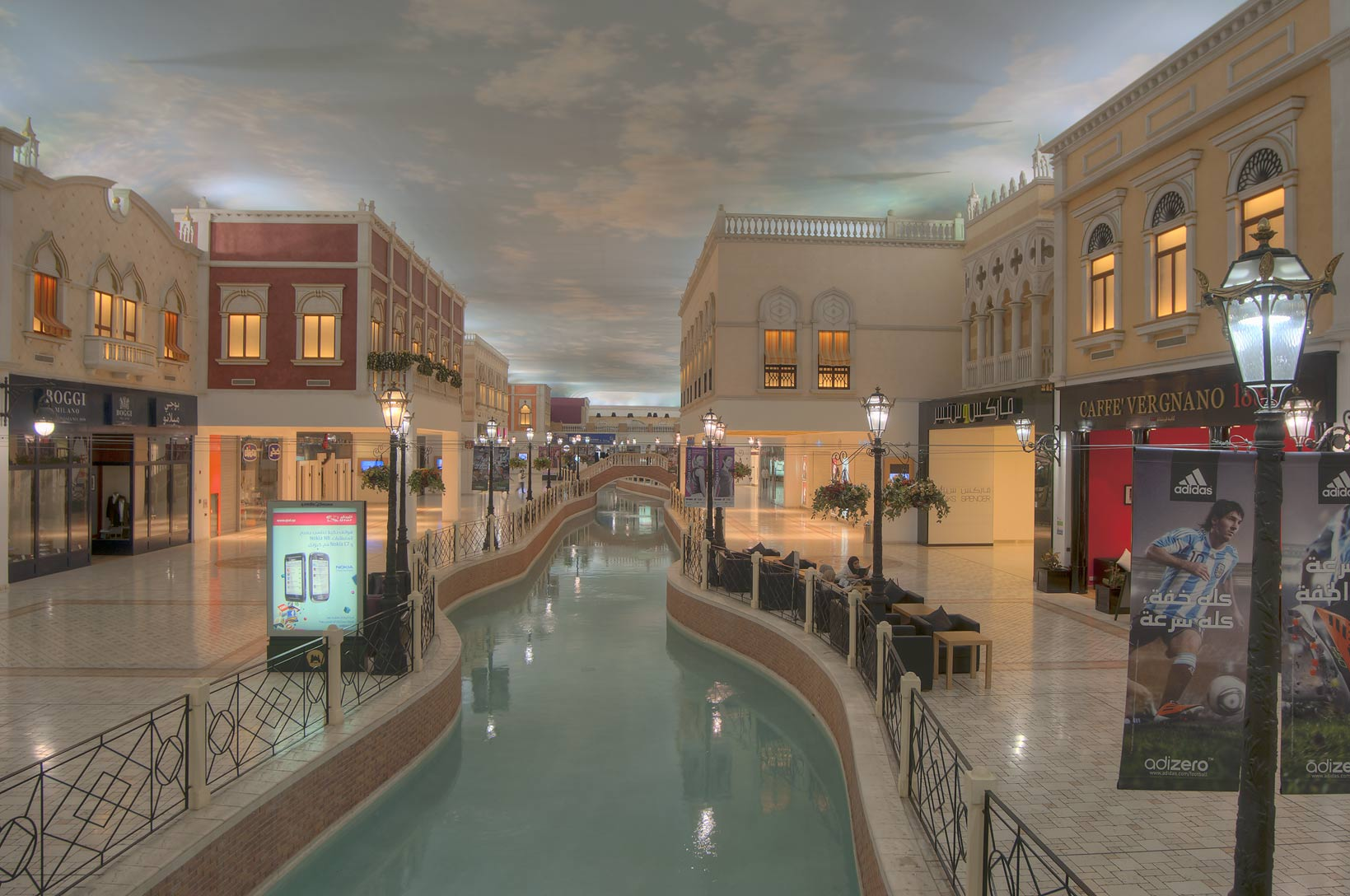 Canal and modern shops in Villagio shopping mall in Aspire Zone. Doha, Qatar