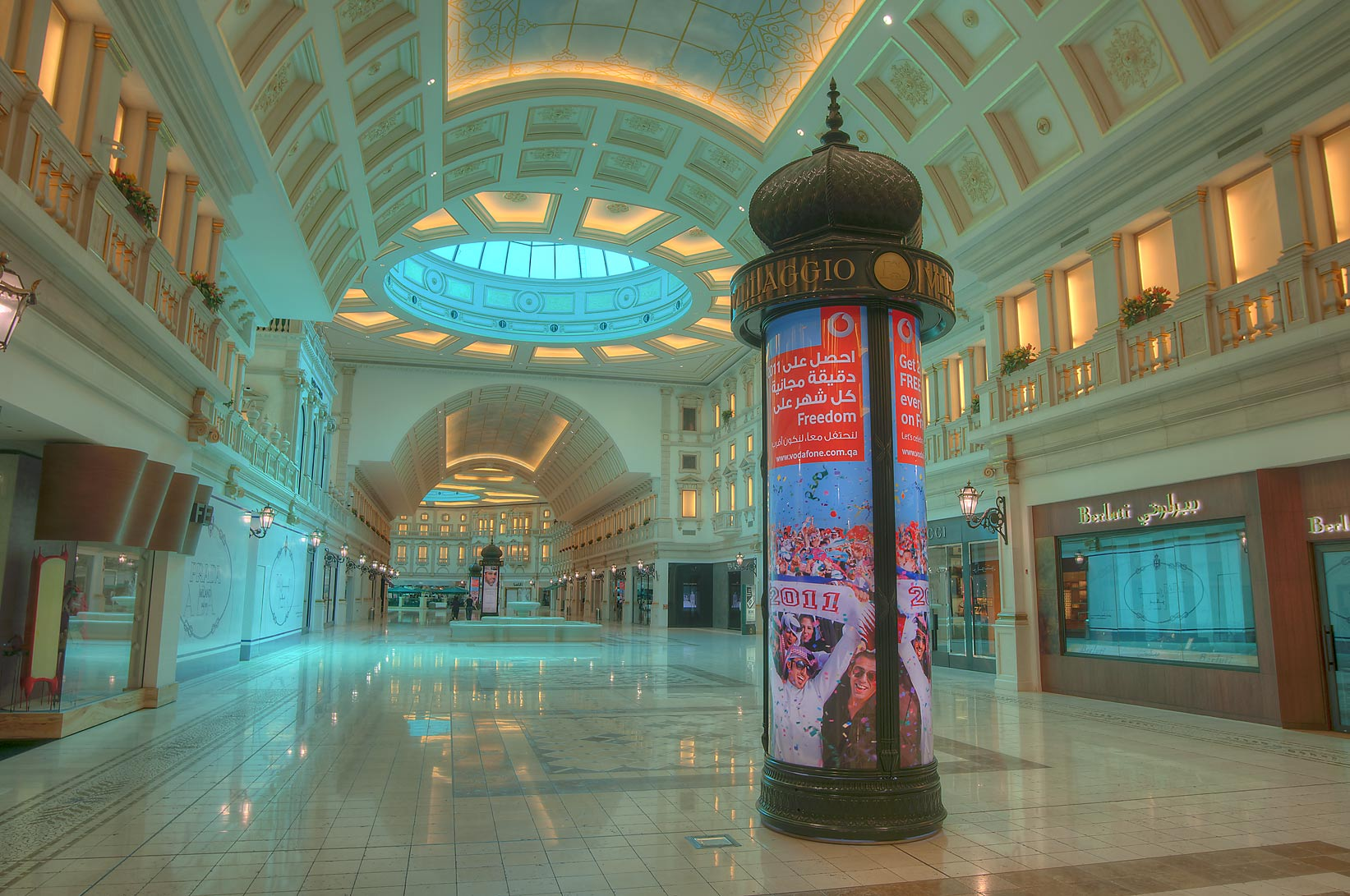 Cellular phone advertisement in Villagio shopping mall in Aspire Zone. Doha, Qatar