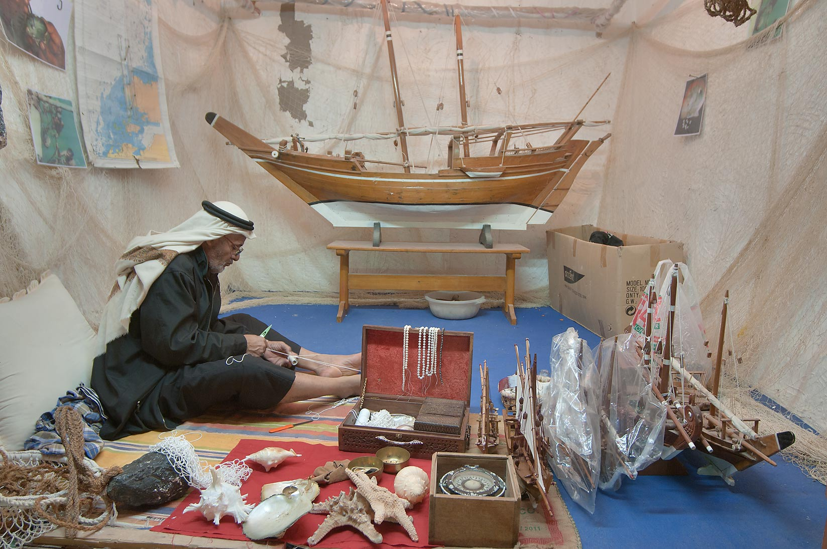 Ship model craft show in Rumeilah Park. Doha, Qatar