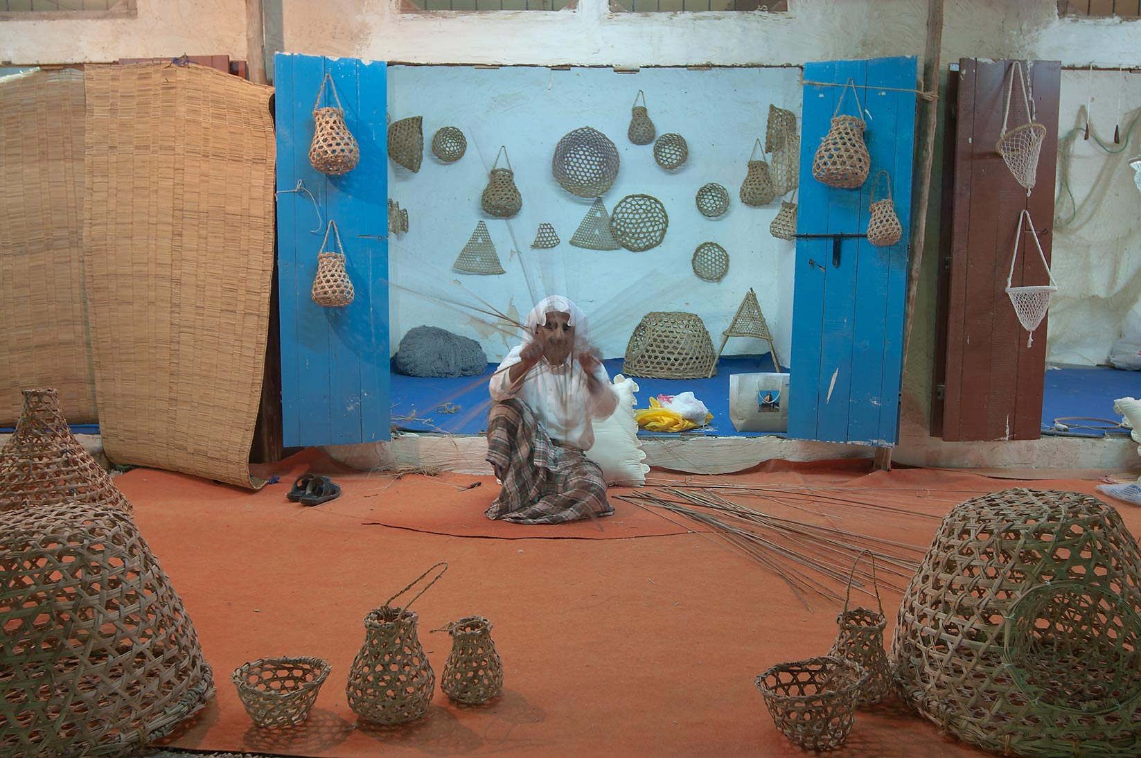 Basket weaving craft show in Rumeilah Park. Doha, Qatar