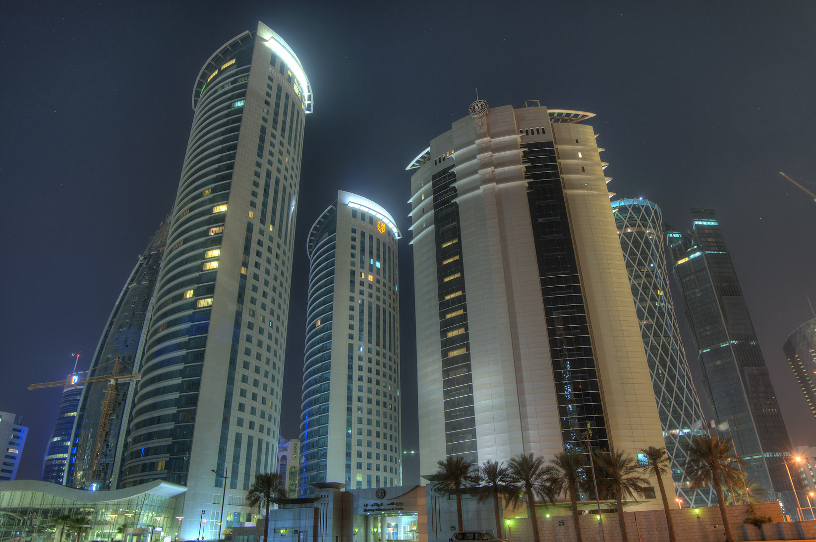 Ministry of Economy and Al Fardan towers in West...of City Center Mall. Doha, Qatar