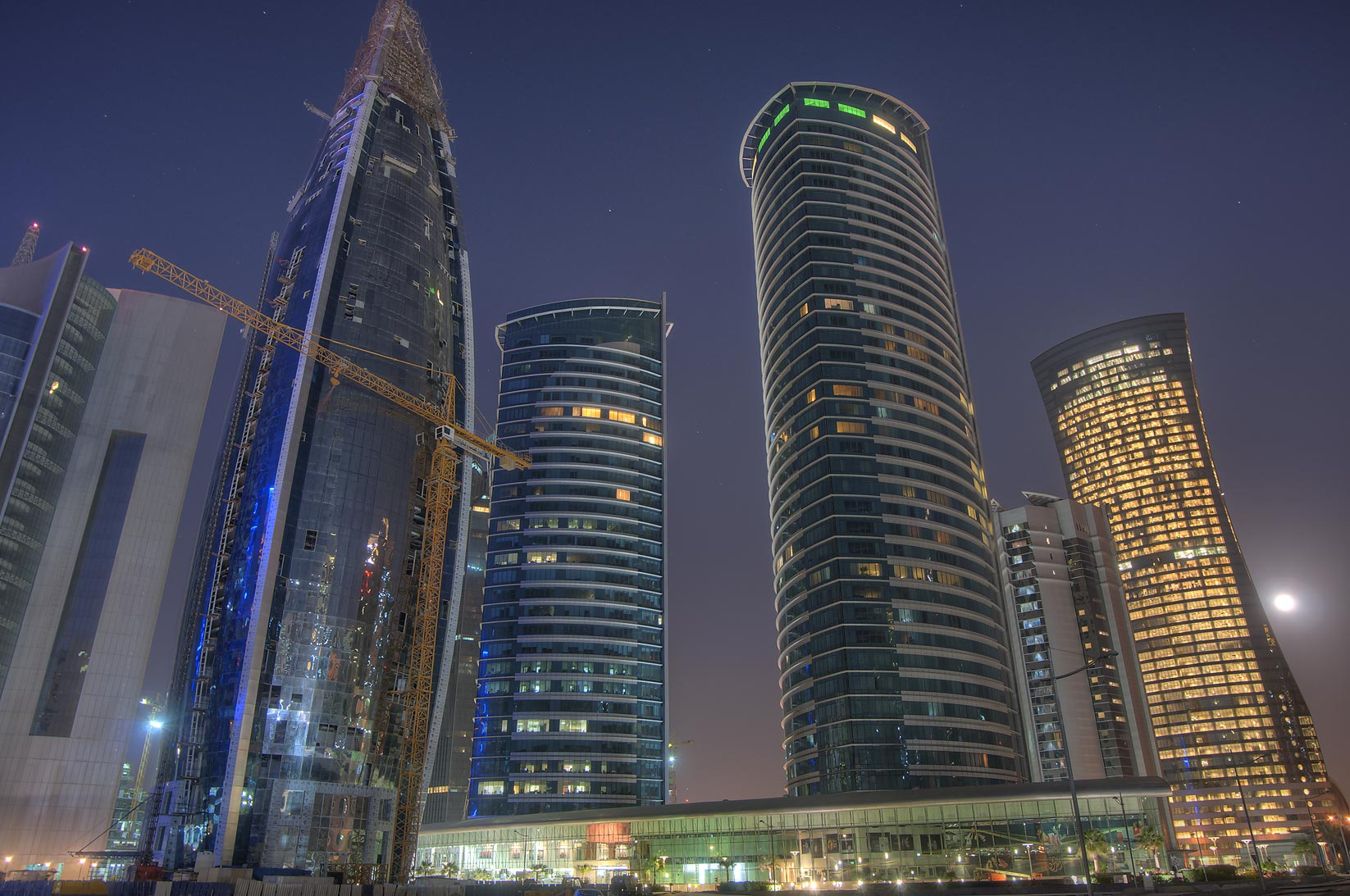 Office towers in West Bay, view from a backyard of City Center Mall. Doha, Qatar
