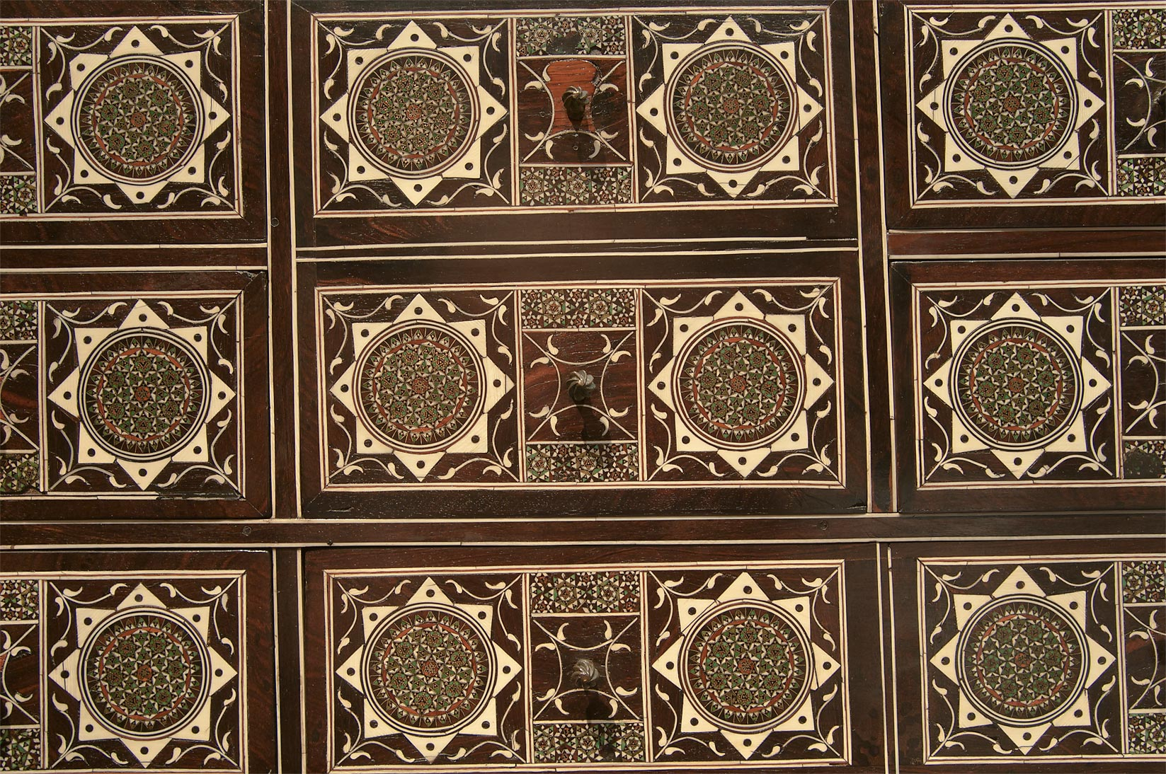 Cabinet (India, wood with ivory, pewter and ebony...in Museum of Islamic Art. Doha, Qatar