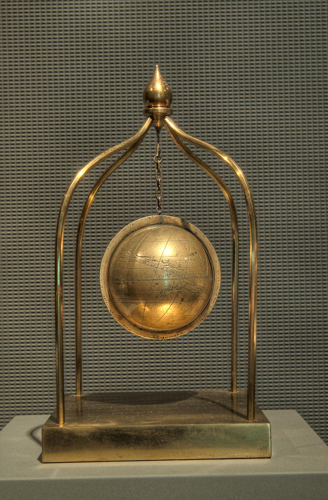 Celestial globe (India, 17th century, brass) on...in Museum of Islamic Art. Doha, Qatar