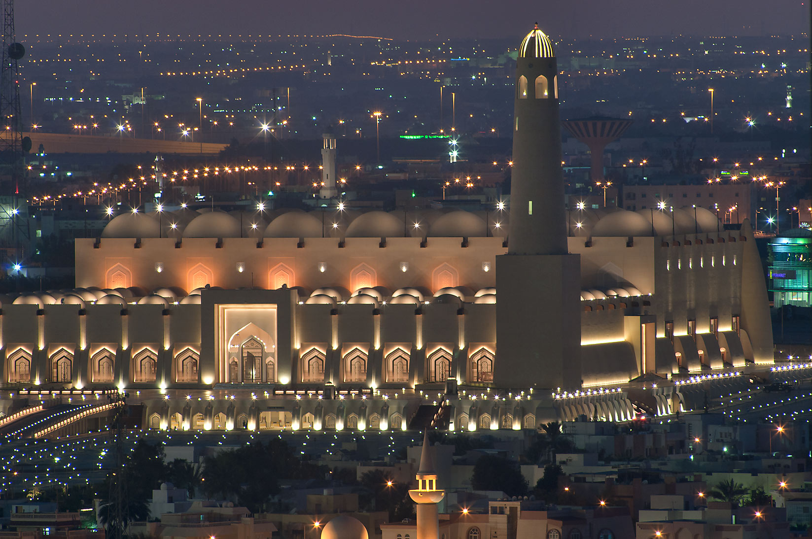 State Mosque at Al-Khuwair after sunset from a...2303 of ASAS Tower West. Doha, Qatar
