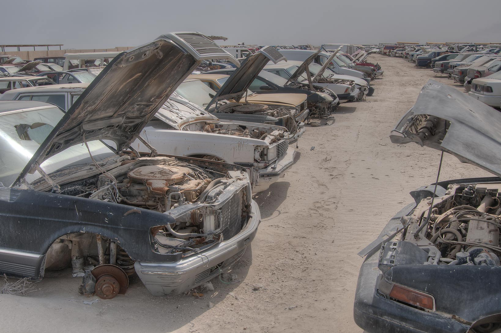 Car junkyard north of Mesaieed (Umm Said). Qatar