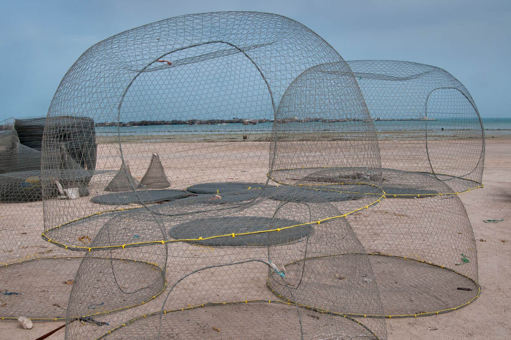 Domed wire fish traps (gargoor) in southern Al Wakrah. Qatar