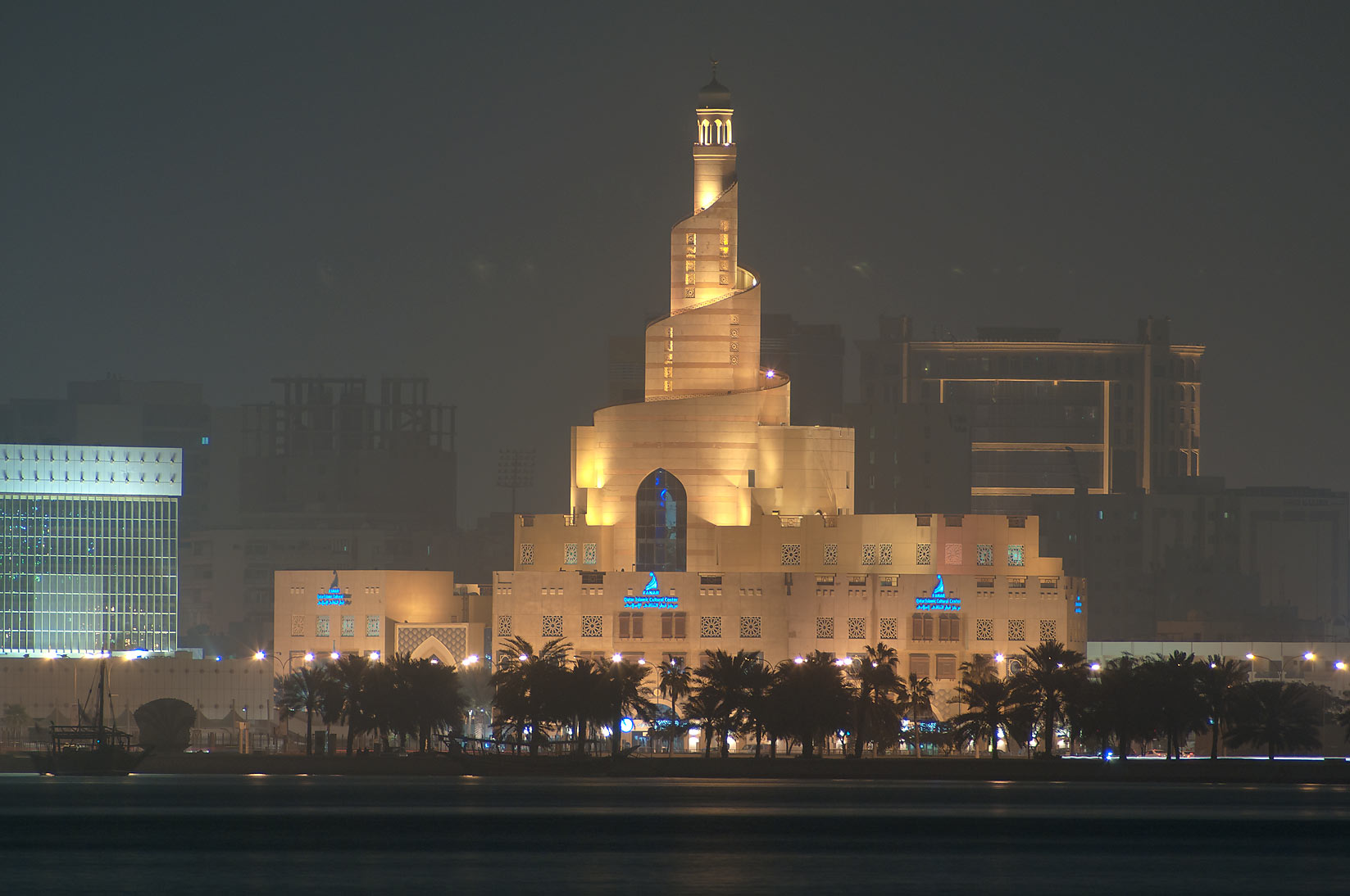 Spiral mosque of the Kassem Darwish Fakhroo...at early morning in mist. Doha, Qatar