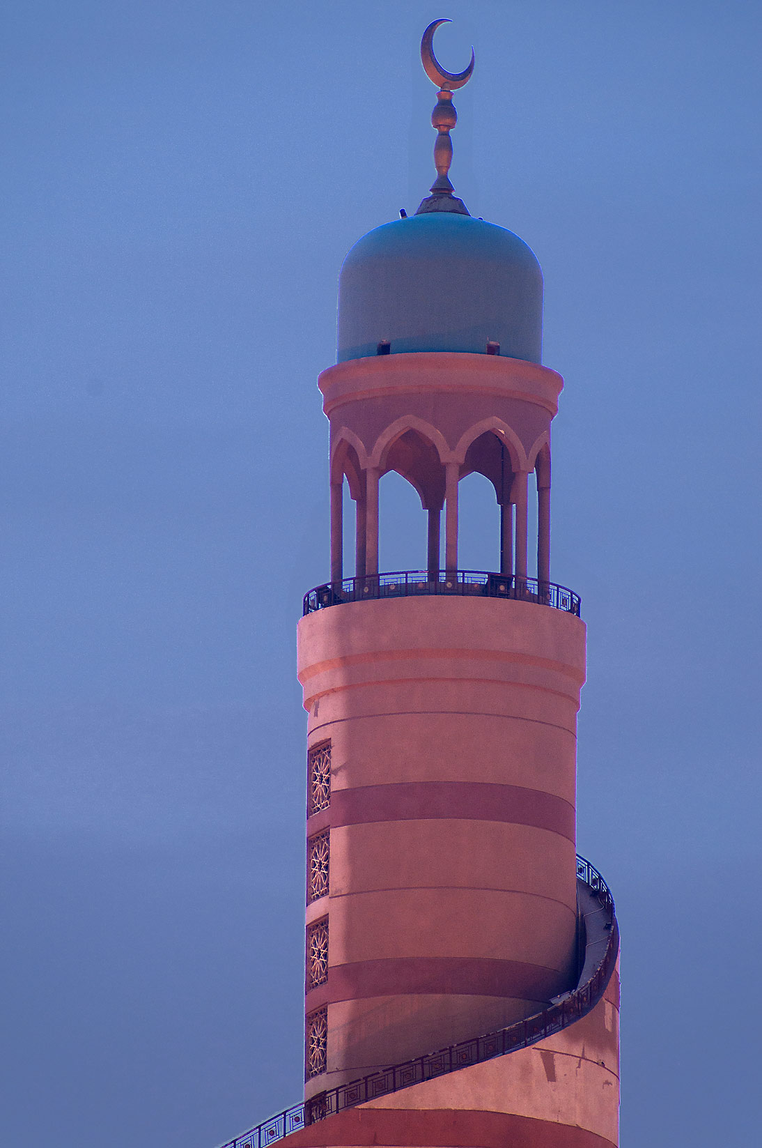 Close up of minaret of the spiral mosque, view from Corniche. Doha, Qatar