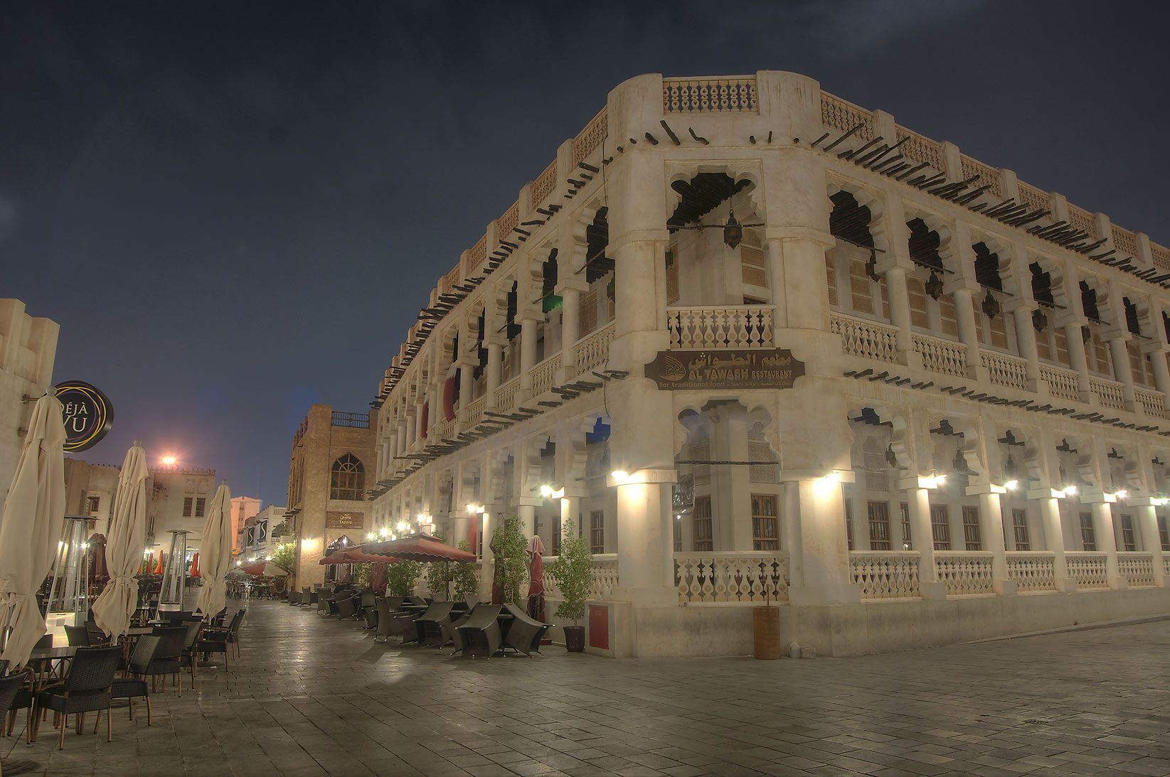 Al Tawash Restaurant in Souq Waqif at early morning. Doha, Qatar